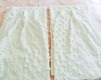 White Chenille Drapes, White Chenille Curtains, Vintage Chenille Drapes,