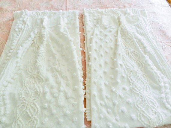 White Chenille Drapes White Chenille Curtains Vintage