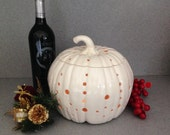 Large Ceramic White pumpkin luminarie candle holder  Wedding decoration, Thanksigiving decoration, Christmas gift  #P102715