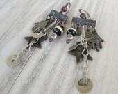Fortuna Chandelier Earrings - Dark Mixed Metal Earrings, Eclectic Earrings, Handmade