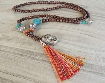 Long Tassel Necklace, Colorful, Bohemian, Mala Style Necklace, Buddha Jewelry, Handmade, Dark Brown
