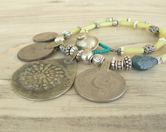 Nomadic Talisman Necklace - Tribal Gypsy, Coin Jewelry, Belly Dance, Yellow, Turquoise, Stone Necklace