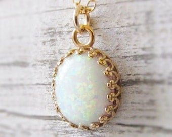 Opal Necklace, Gold Pendant Opal Necklace, Opal Jewelry, October Birthstone Jewelry, Gifts For Her, Opal Necklace and Earring set