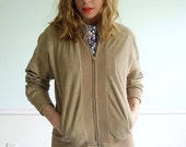 30% off ... Tenenbaum Suede Vintage 70s Super Soft and Supple Leather and Ribbed Knit Bomber Jacket S/M