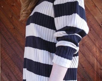 extra 30% off SALE ... Ribbed Black Striped Mini Tunic Dress - Vintage 90s - MEDIUM M