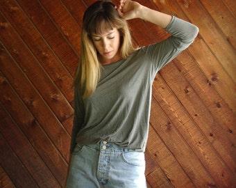 90s LS Slinky Slouchy Liquid Grey Micro Stripe Tee Shirt Top - Vintage - SMALL S