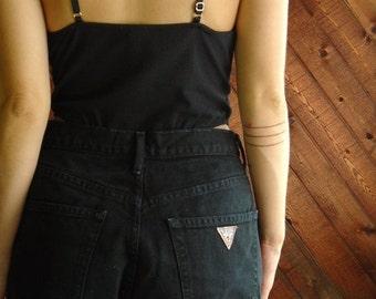 extra 25% off SALE ... 90s GUESS Black Denim High Waist Cut Offs Shorts - MEDIUM M