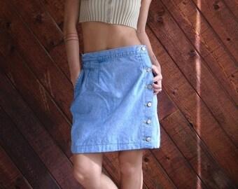 30% off ... Denim High Waist Side Button Mini Tulip Skirt - Vintage 90s - MEDIUM M