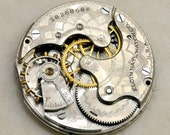 1915 ELGIN MOVEMENT Pendant Steampunk Gears Parts Dial Jewelry Supplies Antique Victorian Watch Parts