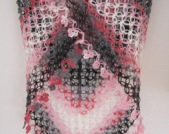 Lacy Shawl, scarf, wrap,pink, grey, charcoal shades, love knot, sparkly, fancy,hand crocheted, sooooooo beautiful, new