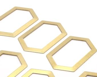6 Raw Brass Hexagons (54x32x1mm) D508