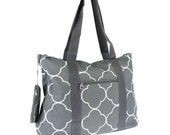 SALE... Grey quatrefoil WEEKENDER tote bag with free monogram.  Zippered Closure.
