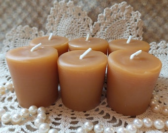 Beeswax Candles Flat-Top Votives Set of 6