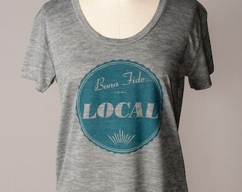 8TH ANNIVERSARY SALE screenprinted womens tshirt, cool tshirt, local design, local screenprint, hometown native