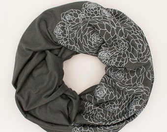 8TH ANNIVERSARY SALE infinity scarf, charcoal gray infinity scarf, organic cotton and bamboo scarf, lightweight for summer