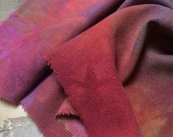 Hand dyed silk noil piece for Quilting, Needlecraft, Embroidery and Stitching
