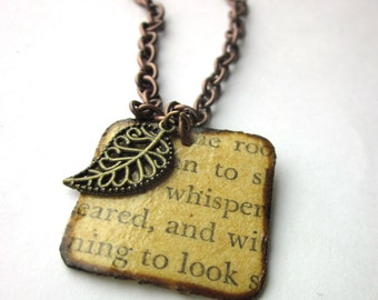 Book page necklace, literary necklace, Book page pendant, Brenda Starr Girl Reporter