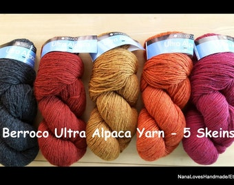 Alpaca Yarn by Berroco - 5 New Skeins - 215 Yards Each - Worsted Weight - Free Shipping
