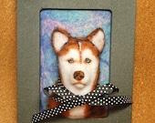 Siberian Husky Framed Needle-Felted Portrait