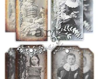 Vintage Photos, Digital Download Art Tags, Gift Tags, Digital Collage Tags, Instant Download, Vintage Photos