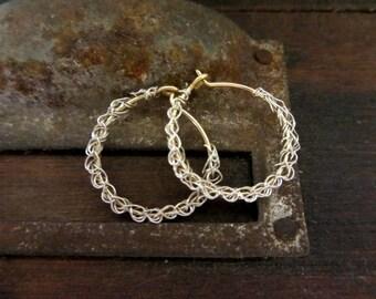 Crochet hoop earrings- silver and gold