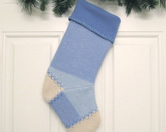 Light Blue Knit Customized Christmas Stocking Personalized Holiday Decoration Handcrafted from Felted Wool Sweater no669
