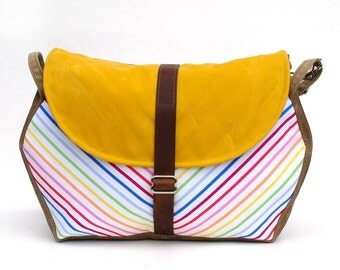 Waxed Canvas Messenger Bag / Hexagon Messenger in Yellow Waxed Canvas and Vintage Rainbow Cotton READY TO SHIP