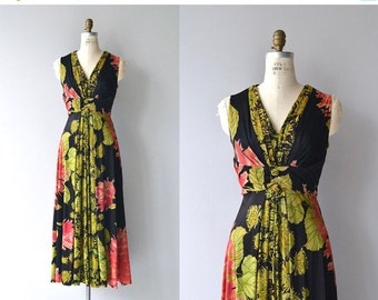 25% OFF.... Villa Cimbrone dress | vintage 1970s maxi dress | floral print 70s dress