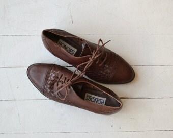 Basketweave Oxfords | vintage leather oxfords | 80s oxfords 5