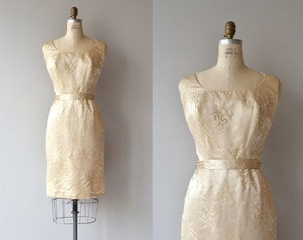 Lys silk dress | vintage 1950s dress | silk 50s brocade dress