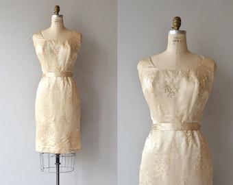 Lys silk dress   vintage 1950s dress   silk 50s brocade dress