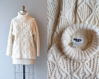 DKNY sweater | cotton cable knit sweater | chunky cream sweater