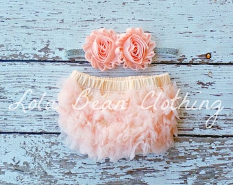 NEW Peach Baby Bloomers Peach and Silver Headband Set Take Home Outfit Newborn Photography Prop Cake Smash Lola Bean Clothing