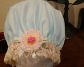 Fancy Shower Cap Vintage, Antique Beage Cotton Lace fits Ex Lg. Lg.  Free Shipping
