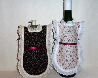 Wine Bottle Apron, Handmade,  Black White, Cherries, Bottle Gift Wrap, Wine Decor, Eyelet Lace