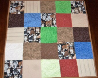 Quilted Table Runner,  Square Table Topper, 26x26 Inches, Kitty Cat Quilt, Sale Priced, Dining Table Decor, Machine Quilted