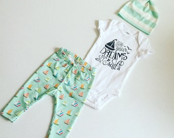 Newborn Baby Boy Coming Home Outfit, Boys Clothing, Pants Shirt with Matching Hat, Sailboats, Sailor