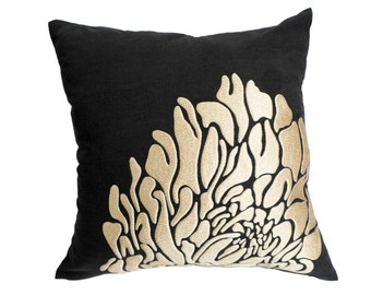 Contemporary  Floral Couch Pillow Cover, Black Linen Beige Flower Embroidery, Home Accent, Couch Pillow, Bedding, Toss Pillow, Pillow Sham