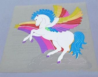 Rare Vintage 80's Giant Sandylion Mylar Foil Pegasus Sticker