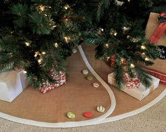 Tailored, Burlap Christmas Tree Skirt Customized with Banding & Buttons of Your Choosing