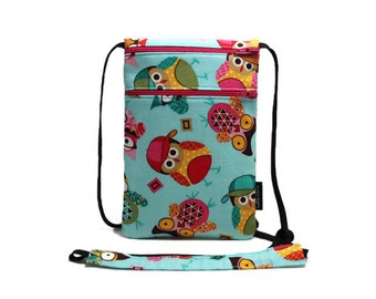 Small travel pouch, Cell Phone Zipper Pouch, Neck wallet, Passport Holder, Small Cross Body bag - Colorful Owls on Light Turquoise