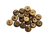 Set of 20 Wooden Rondelle Disk Beads - Dark Base, Mixed Browns (10mm)