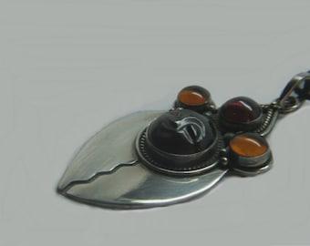 Vintage Amber Garnet and Silver Pendant Carved Moon face cast 925 sterling silver gemstone goddess amulet