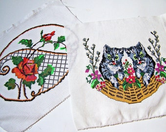 Antique Romanian Hungarian hand embroidered fabric pieces, 2 counted thread embroidery red roses & kittys in a basket 2 cloth pieces