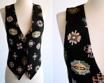 Size M: 90's Vintage Aztec Inspired Twill Vest