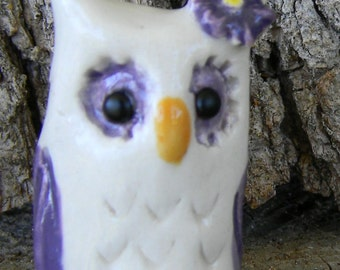 OWL Miniature    Terrarium Animal  hand sculpt tiny ceramic owl