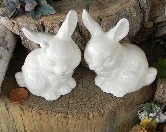 2 Bunny Rabbit Wedding   Cake Topper   Ceramic White Glazed bunnies Rabbits
