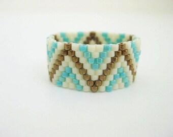 Beadwork Peyote Ring Zig-Zag Cream Turquoise Metallic Bronze Delica Seed Bead Ring Beaded Beadwoven Band Size 7