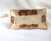 Brown and sand Small ceramic jewellery plate, tea bag holder, Ring holder -  Hand Made Ceramic Eco-Friendly Home Decor by studio Vishnya