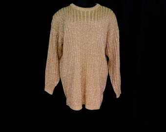 Vintage 80s 90s Gold Metallic Tunic Sweater Slounchy Oversized Glam Sparkle M Medium L Large